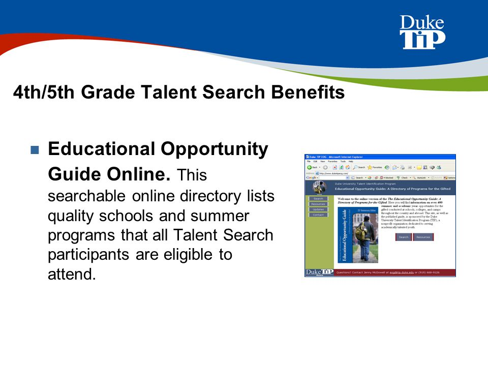 4th/5th Grade Talent Search Benefits