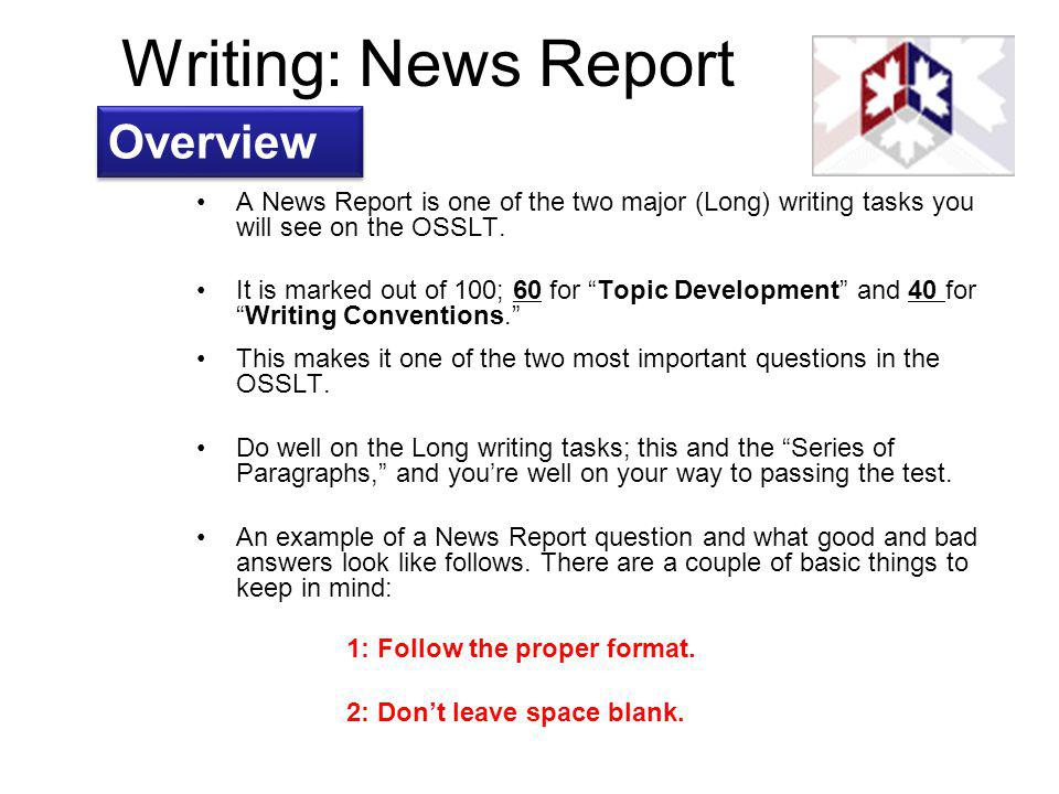 Writing: News Report Overview