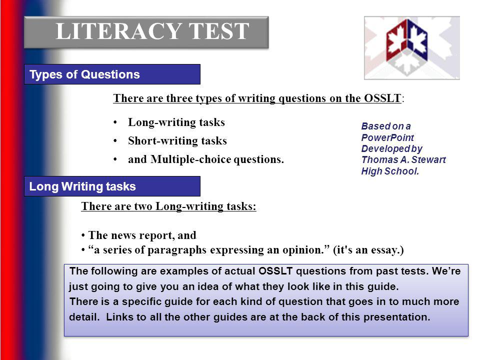 LITERACY TEST Types of Questions