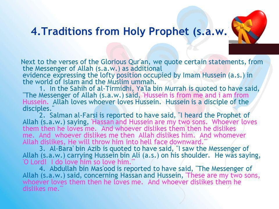 4.Traditions from Holy Prophet (s.a.w.)