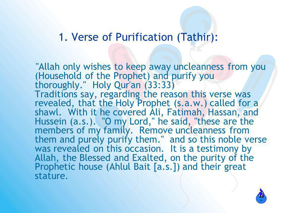1. Verse of Purification (Tathir):
