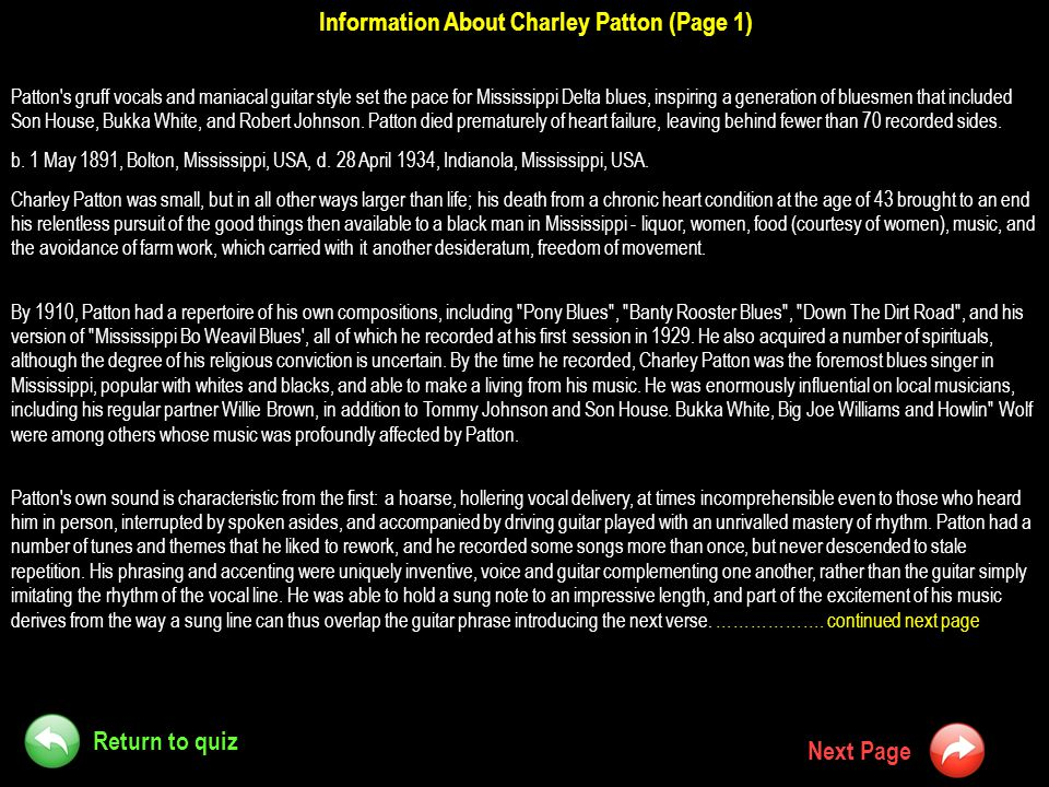 Information About Charley Patton (Page 1)