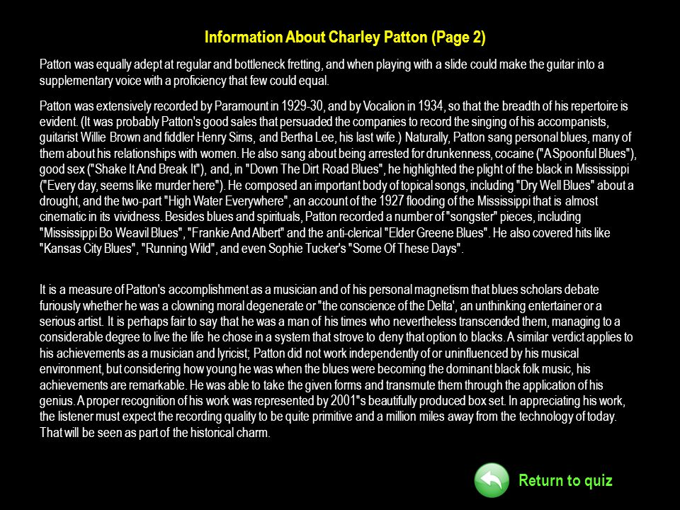 Information About Charley Patton (Page 2)