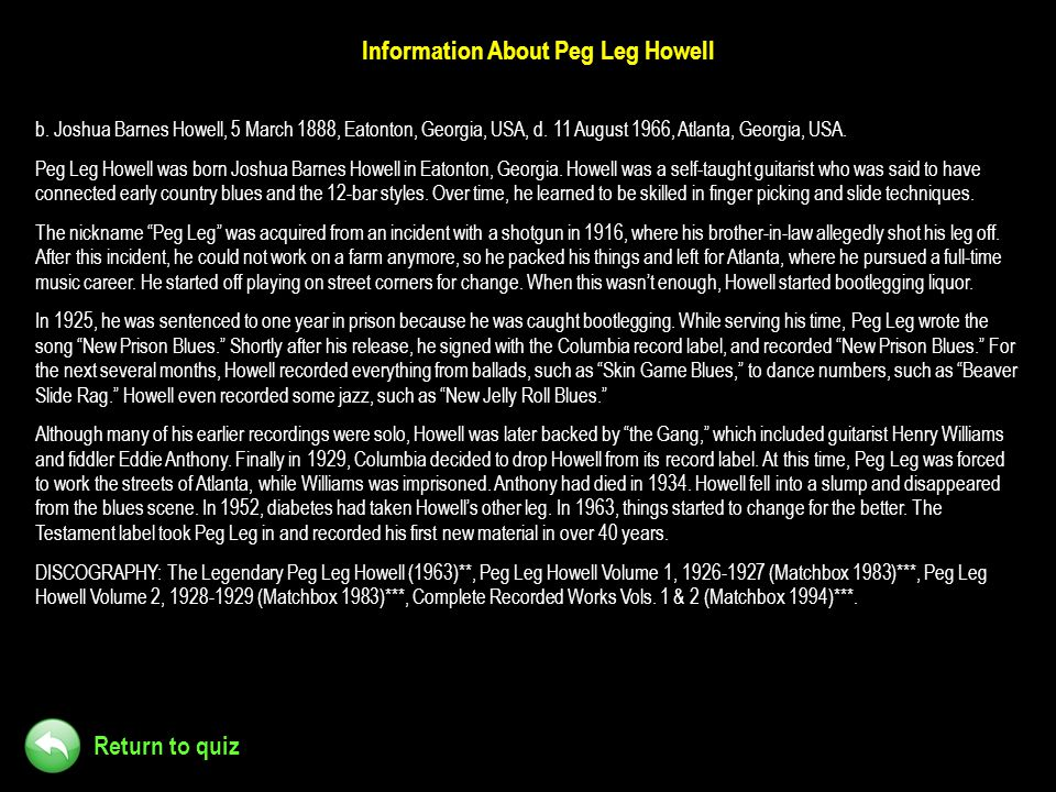 Information About Peg Leg Howell