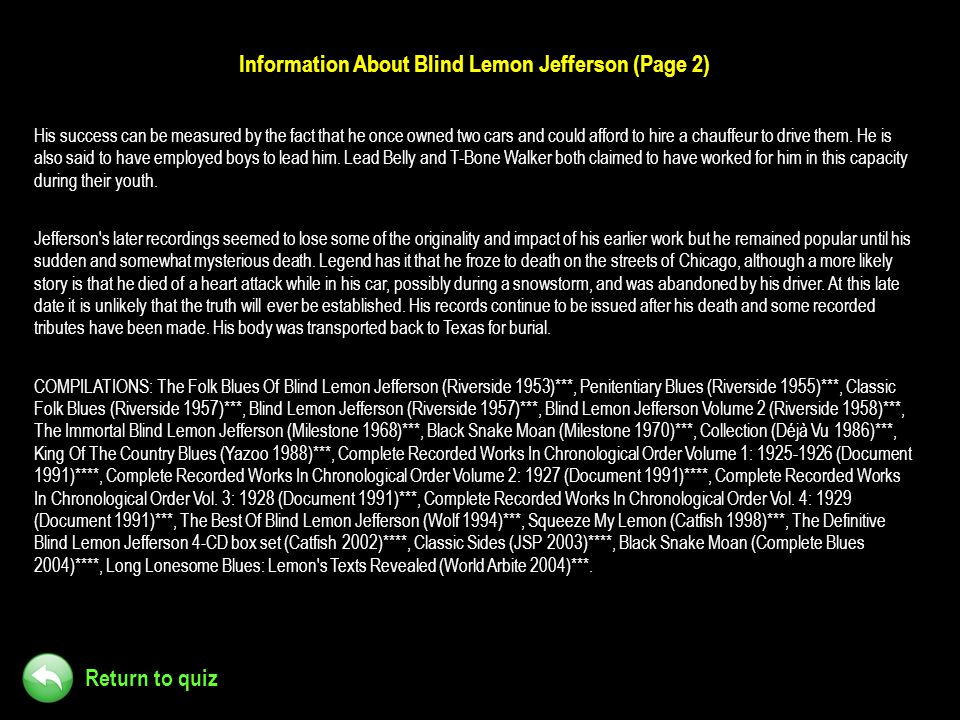 Information About Blind Lemon Jefferson (Page 2)