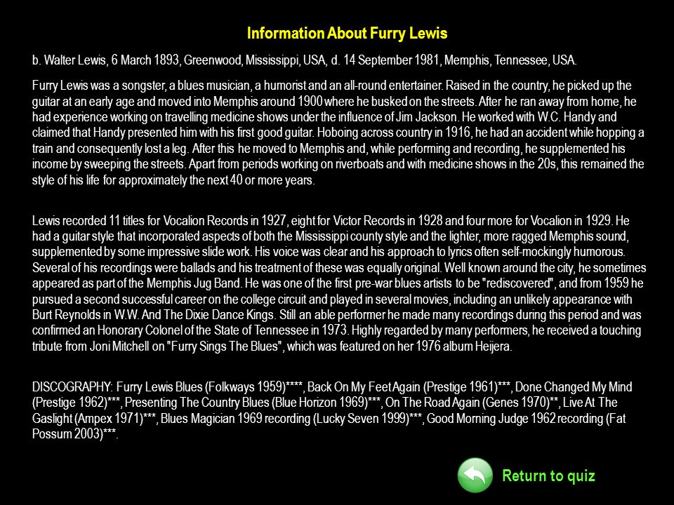 Information About Furry Lewis