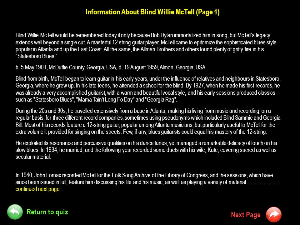Information About Blind Willie McTell (Page 1)