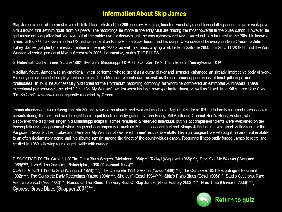 Information About Skip James