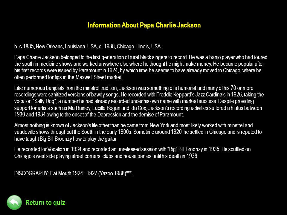 Information About Papa Charlie Jackson