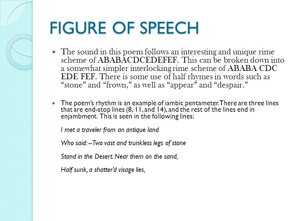 figures of speech used in ozymandias