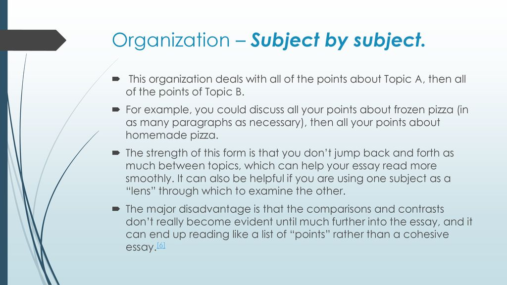 subject by subject comparison and contrast essay example