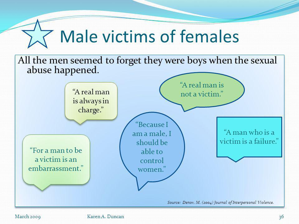 Male victims of females