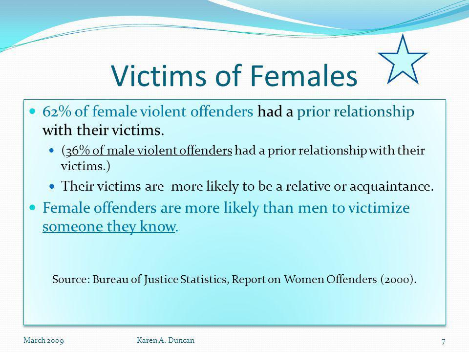 Victims of Females 62% of female violent offenders had a prior relationship with their victims.