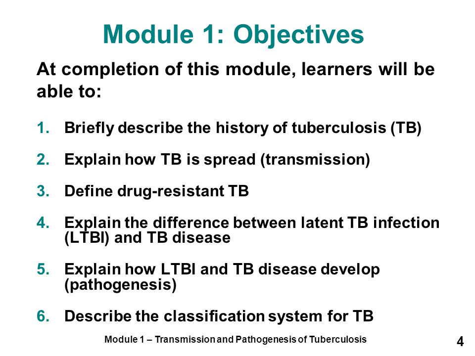 Module 1 – Transmission and Pathogenesis of Tuberculosis