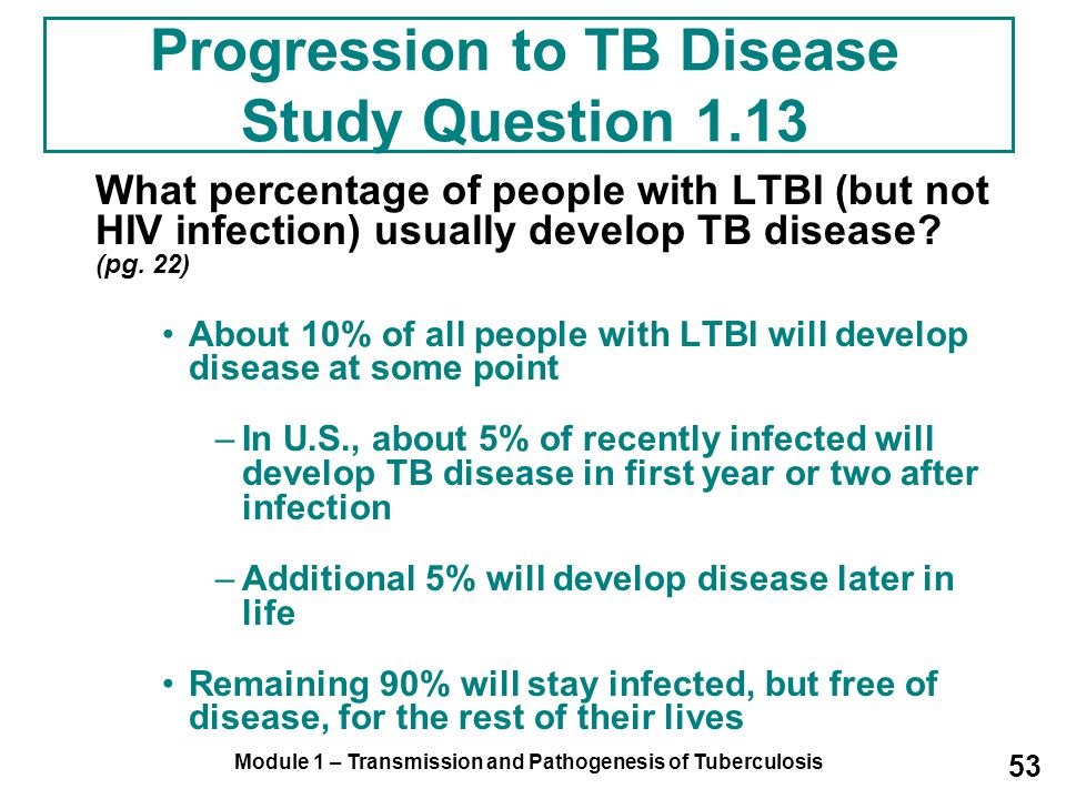 Progression to TB Disease Study Question 1.13