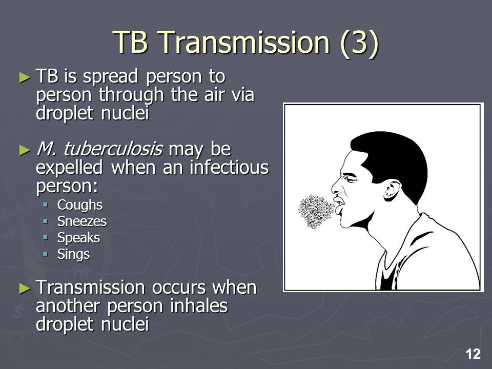 TB Transmission (3) TB is spread person to person through the air via droplet nuclei. M. tuberculosis may be expelled when an infectious person: