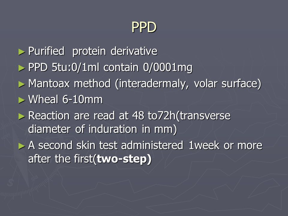 PPD Purified protein derivative PPD 5tu:0/1ml contain 0/0001mg