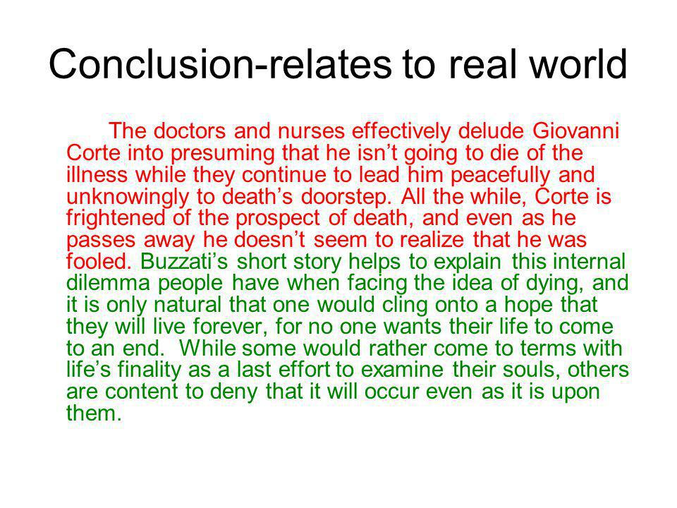 Conclusion-relates to real world