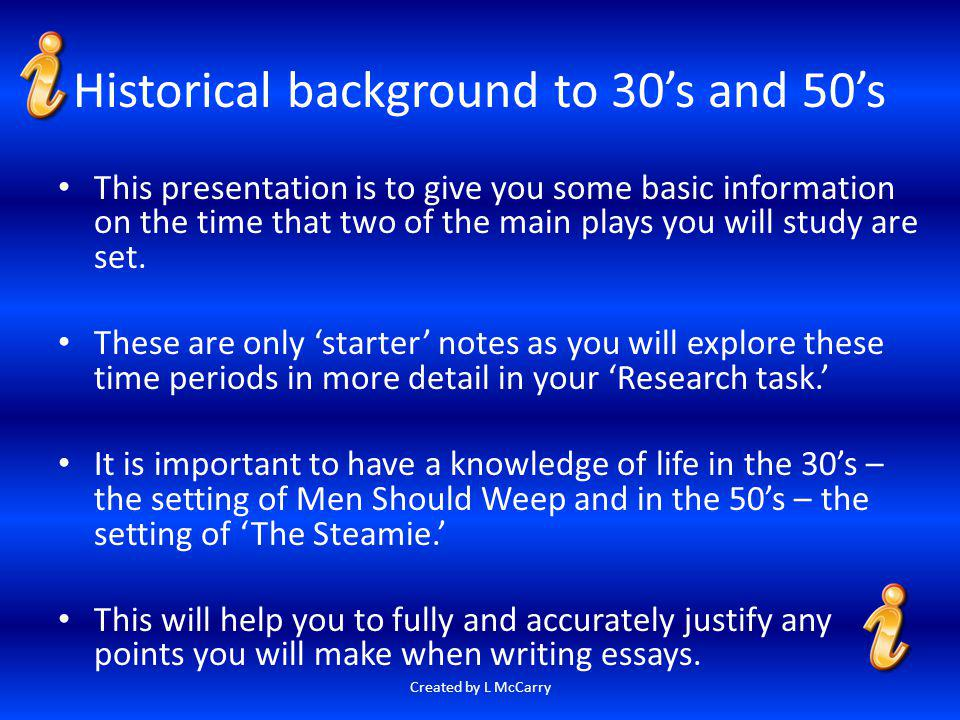 Historical background to 30's and 50's