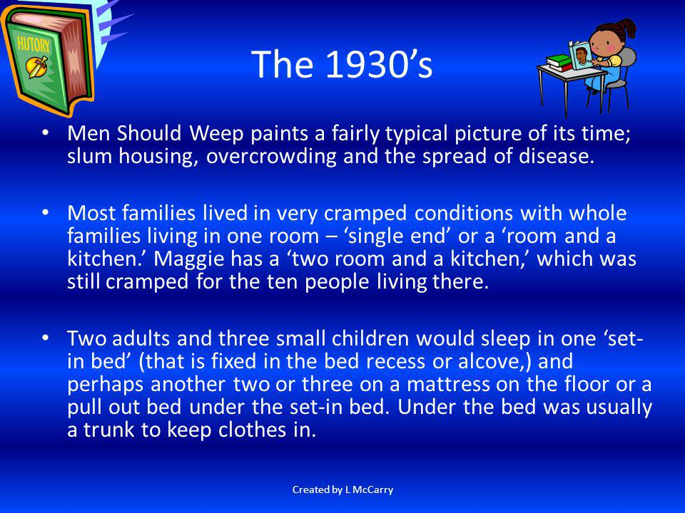 The 1930's Men Should Weep paints a fairly typical picture of its time; slum housing, overcrowding and the spread of disease.