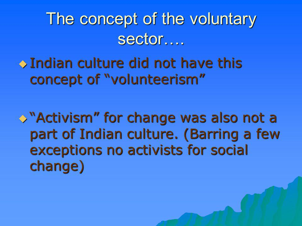 The concept of the voluntary sector….