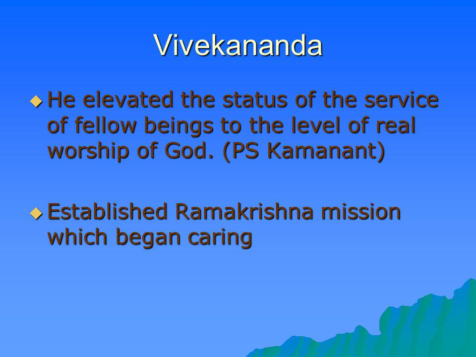 Vivekananda He elevated the status of the service of fellow beings to the level of real worship of God. (PS Kamanant)