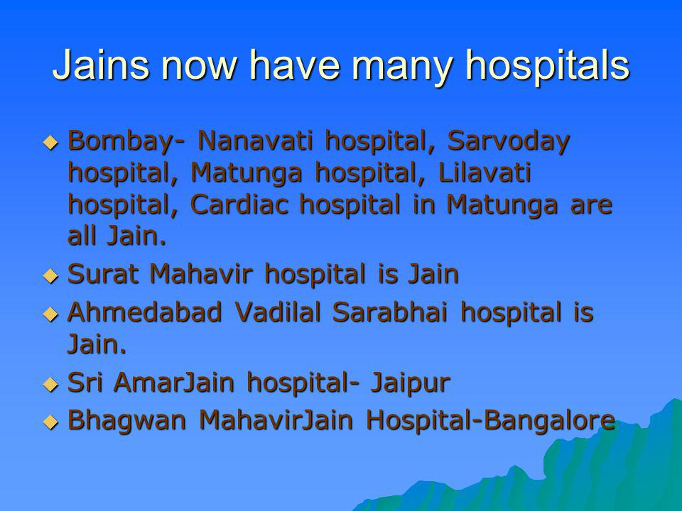 Jains now have many hospitals