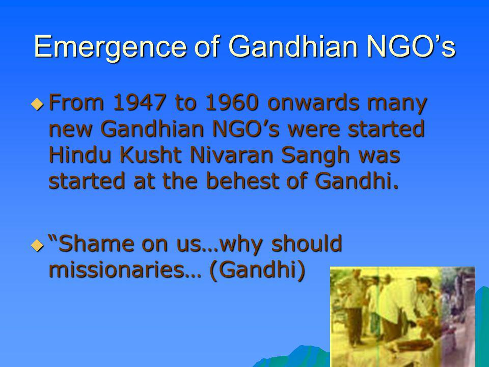 Emergence of Gandhian NGO's