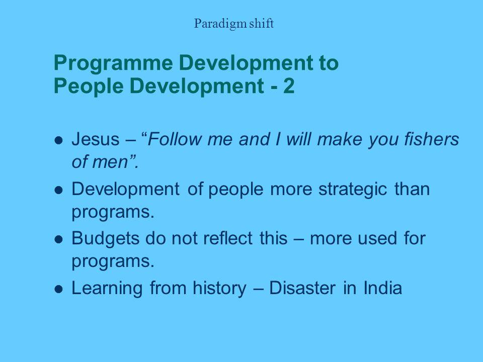 Programme Development to People Development - 2