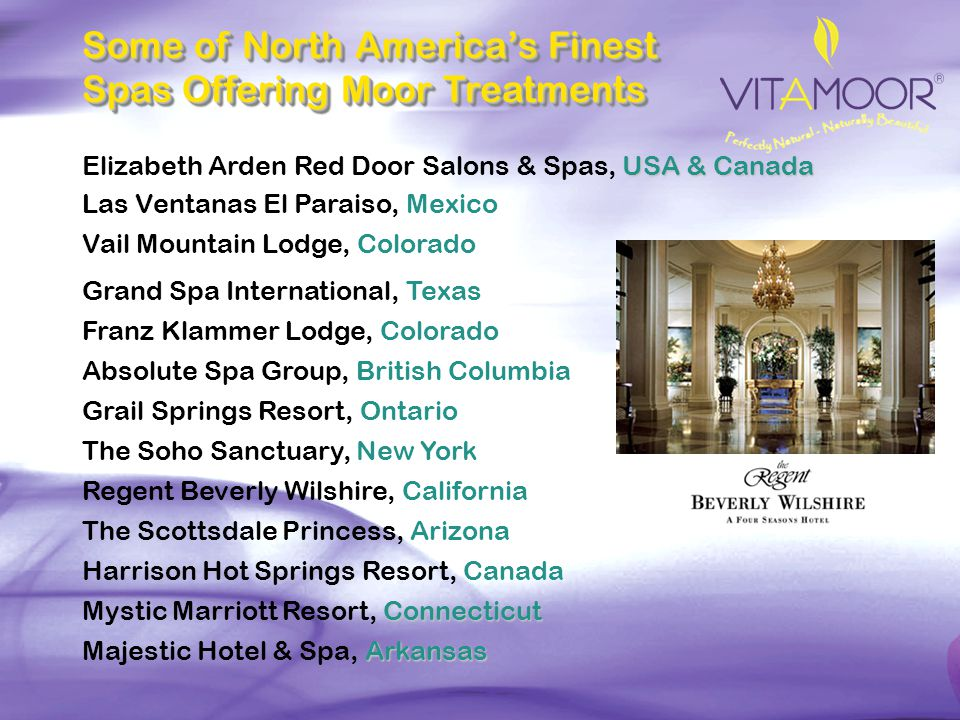 Some of North America's Finest Spas Offering Moor Treatments
