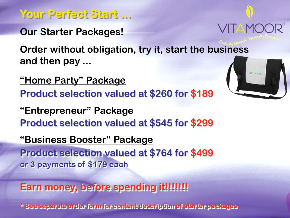 Your Perfect Start ... Our Starter Packages!