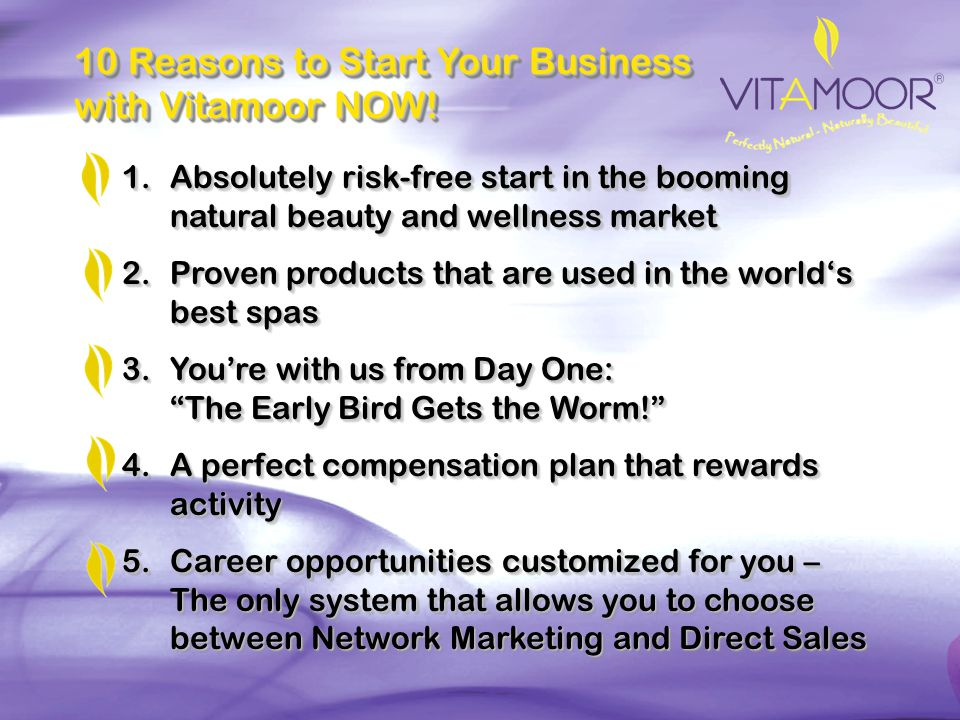 10 Reasons to Start Your Business with Vitamoor NOW!