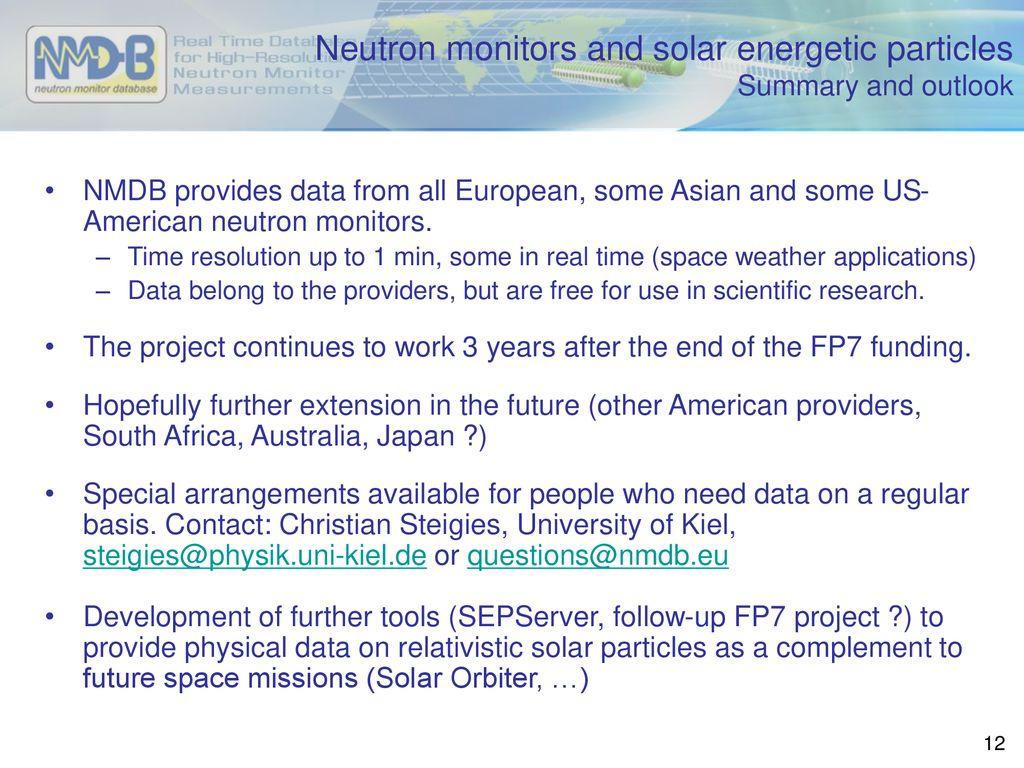 NMDB - the European neutron monitor database - ppt download