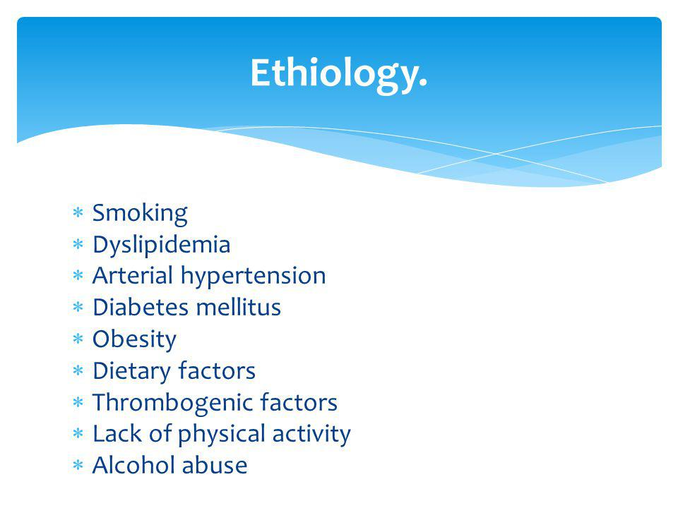 Ethiology. Smoking Dyslipidemia Arterial hypertension