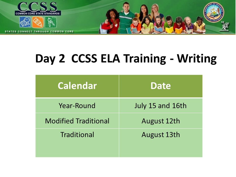 Day 2 CCSS ELA Training - Writing