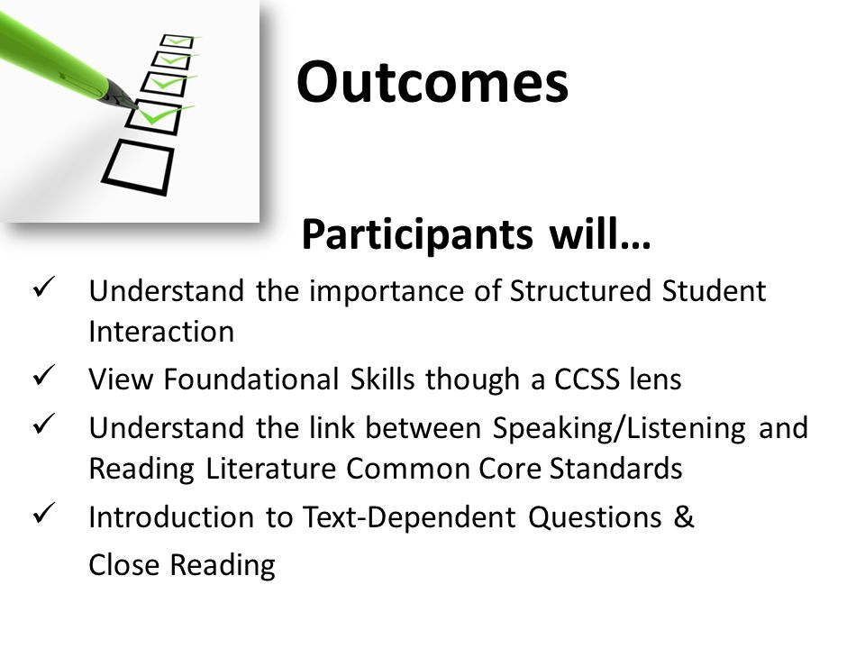 Outcomes Participants will…