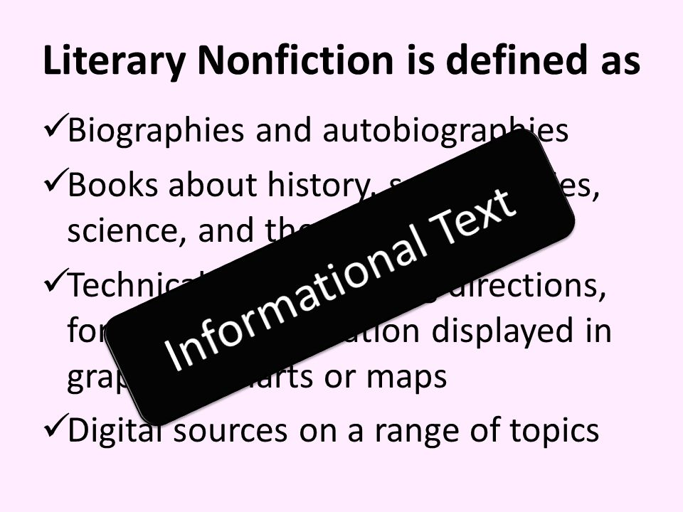 Literary Nonfiction is defined as