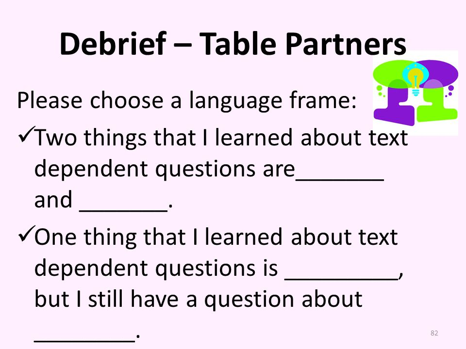 Debrief – Table Partners