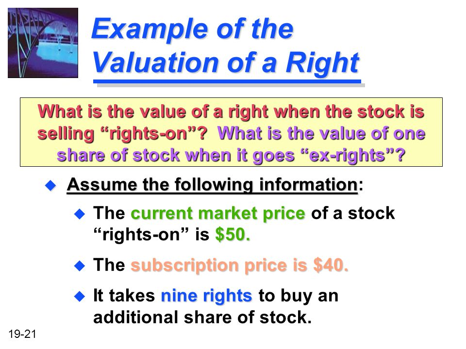 Example of the Valuation of a Right