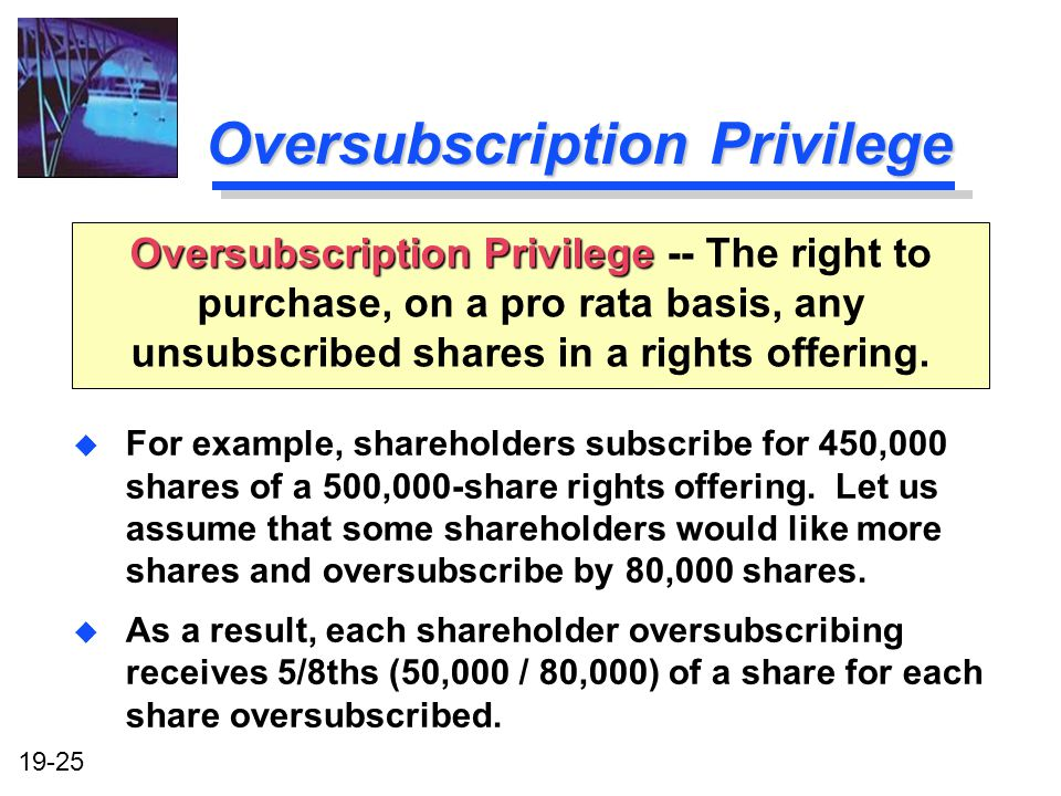 Oversubscription Privilege