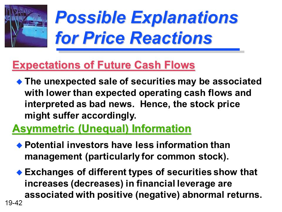 Possible Explanations for Price Reactions