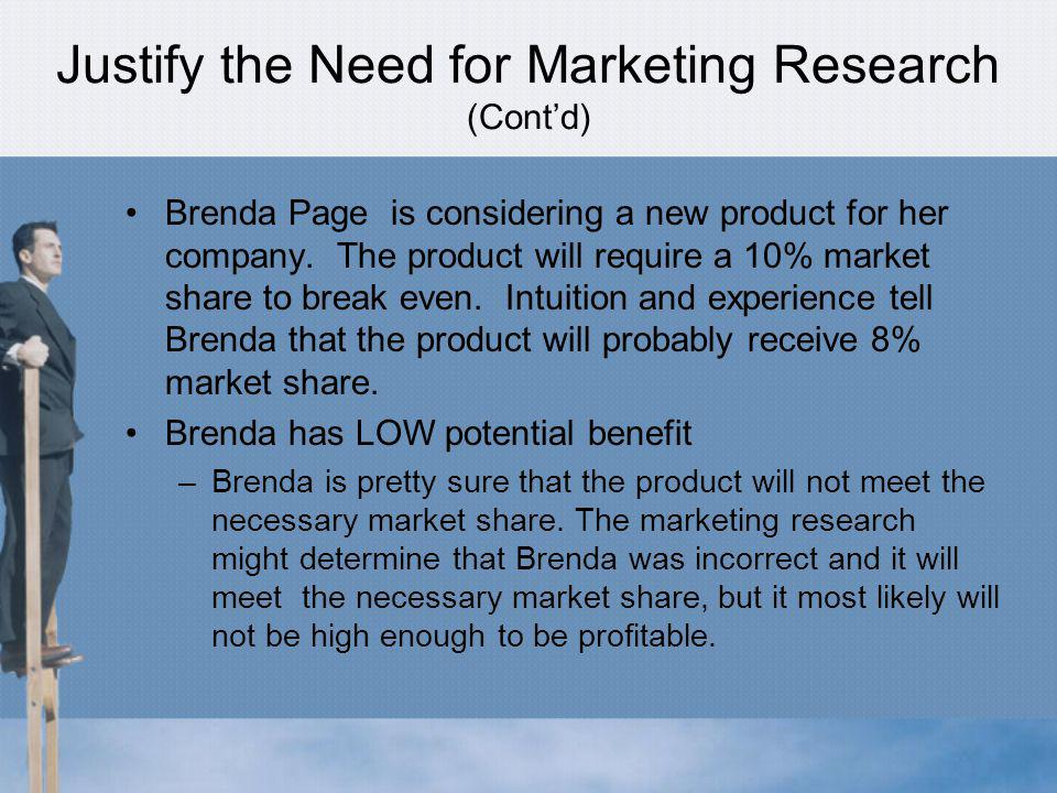 Justify the Need for Marketing Research (Cont'd)