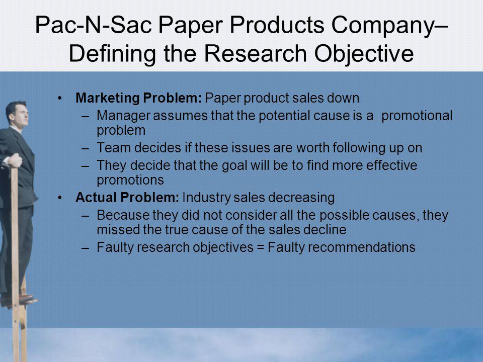 Pac-N-Sac Paper Products Company– Defining the Research Objective