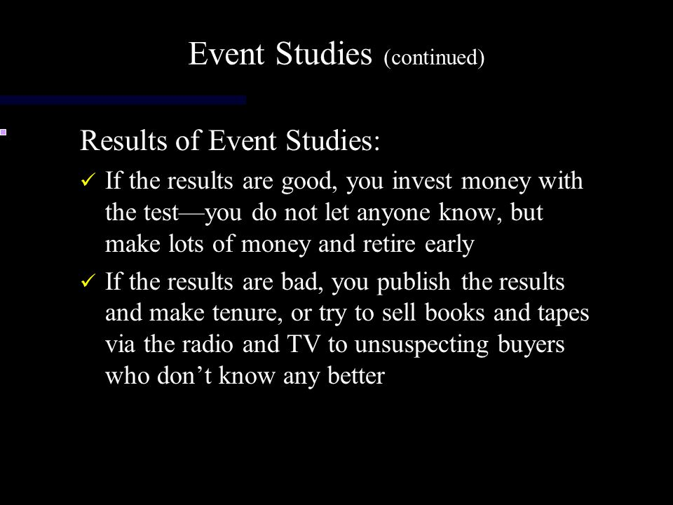 Event Studies (continued)