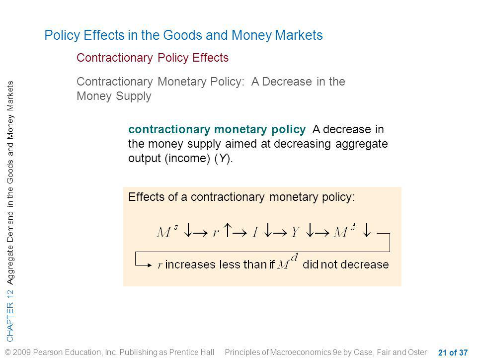 Policy Effects in the Goods and Money Markets