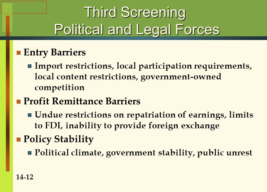 Third Screening Political and Legal Forces
