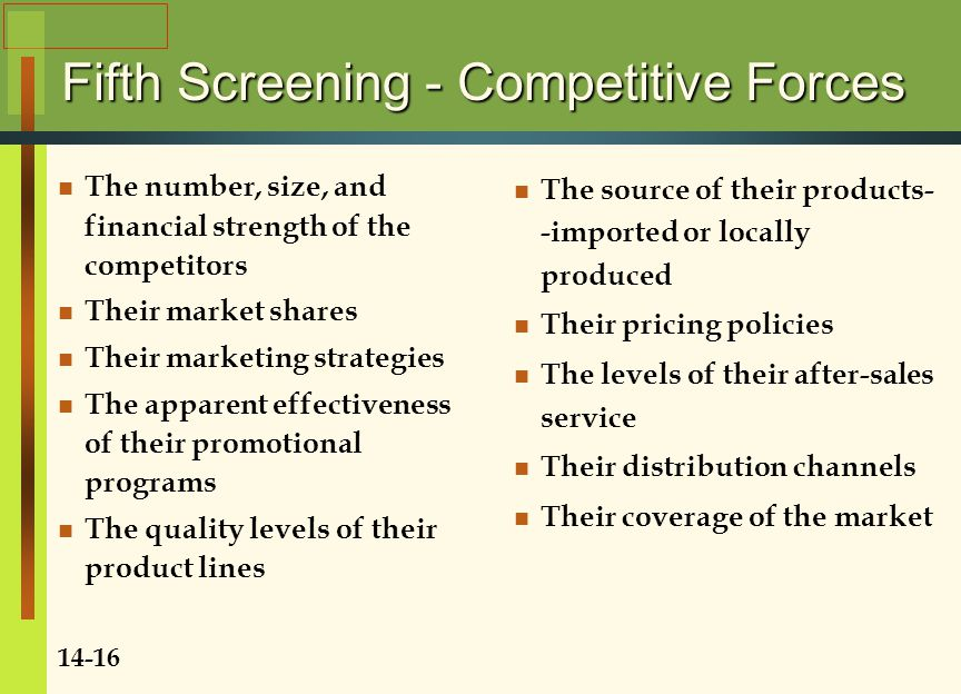 Fifth Screening - Competitive Forces