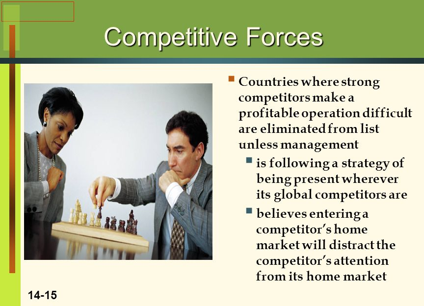 Competitive Forces Countries where strong competitors make a profitable operation difficult are eliminated from list unless management.
