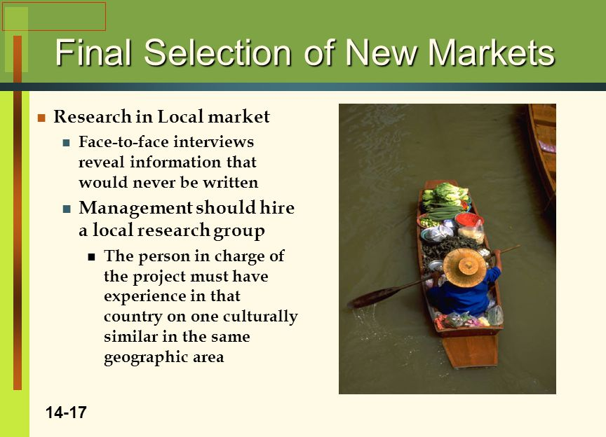 Final Selection of New Markets