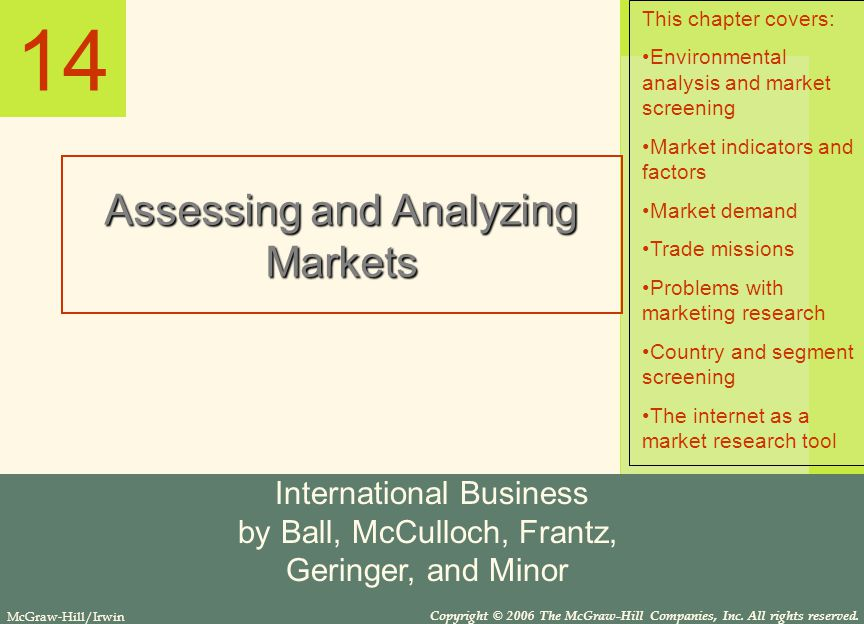 14 Assessing and Analyzing Markets International Business